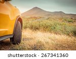 Yellow Car On A Background Of...