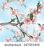 seamless pattern with blooming... | Shutterstock . vector #267351443