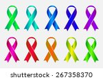 set of colorful awareness... | Shutterstock . vector #267358370