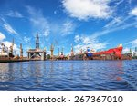 ships on dock and oil rig in... | Shutterstock . vector #267367010
