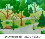 Park 2d Game Landscape With...