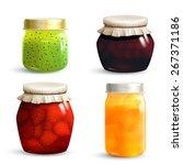 natural fruit jam preserves jar ... | Shutterstock .eps vector #267371186