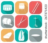 Drum Icons 2. Silhouette. Flat...