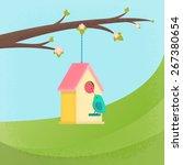 birds and birdhouse  spring | Shutterstock . vector #267380654