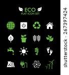 vector flat icon set   eco