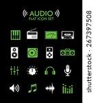 vector flat icon set   audio