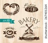 set of vintage bakery labels ... | Shutterstock .eps vector #267401264