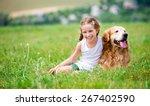 smiling little girl sitting on... | Shutterstock . vector #267402590