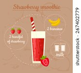 strawberry smoothie recipe.... | Shutterstock .eps vector #267402779
