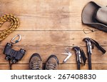 equipment for hiking on a... | Shutterstock . vector #267408830