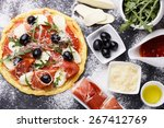 Dough Pizza With Ingredient...