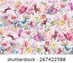 flowers and elves. seamless... | Shutterstock . vector #267422588