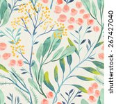 Stock photo seamless hand illustrated floral pattern on paper texture watercolor botanical background 267427040