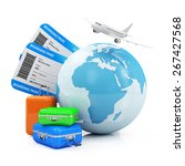 Air Travel and Vocation Concept. Earth Globe with Airline Boarding Pass Tickets, Luggage and Flying Passenger Airplane isolated on white background. ( Elements of this image furnished by NASA ) - stock photo