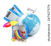 Air Travel and Vacation Concept. Earth Globe with Airline Boarding Pass Tickets, Summer Accessories and Flying Passenger Airplane on white background. ( Elements of this image furnished by NASA ) - stock photo