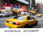 taxi cab in new york. motion | Shutterstock . vector #267428099