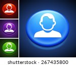 man face portrait on blue round ... | Shutterstock .eps vector #267435800