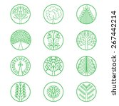 vector set with green logos... | Shutterstock .eps vector #267442214