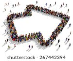 large group of people seen from ... | Shutterstock . vector #267442394