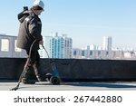 roofer man worker at building... | Shutterstock . vector #267442880