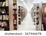 library setting with books and... | Shutterstock . vector #267446678