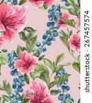watercolor exotic seamless... | Shutterstock . vector #267457574