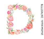 watercolor floral monogram... | Shutterstock . vector #267457778