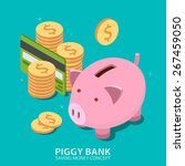 piggy bank and money tower with ... | Shutterstock .eps vector #267459050