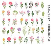 colorful floral collection with ... | Shutterstock .eps vector #267474998