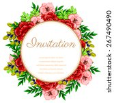 invitation with floral... | Shutterstock .eps vector #267490490