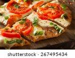 homemade margarita flatbread... | Shutterstock . vector #267495434