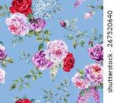 watercolor flower pattern  rose ... | Shutterstock . vector #267520640