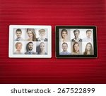 tablet with isolated screen on... | Shutterstock . vector #267522899