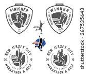 set of vintage marathon labels  ... | Shutterstock . vector #267535643