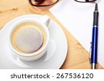 aromatic coffee and notepad on... | Shutterstock . vector #267536120