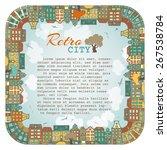 bright square city landscape.... | Shutterstock .eps vector #267538784