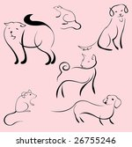 Stock vector vector illustraition of domestic animals design set made with simple line only 26755246