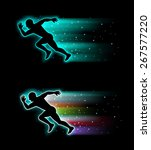 silhouettes of people running | Shutterstock .eps vector #267577220