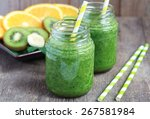 healthy green smoothie made... | Shutterstock . vector #267581984