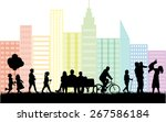 silhouettes of people on the... | Shutterstock .eps vector #267586184
