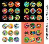 flat design round labels ... | Shutterstock .eps vector #267587633