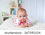 cute baby girl  on home...   Shutterstock . vector #267592124