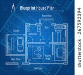 blueprint house plan. design... | Shutterstock .eps vector #267592394