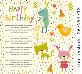 Stock vector colorful baby shower background with cat chicken and rabbit happy birthday card 267594713