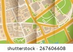 brochure with folds city map | Shutterstock . vector #267606608