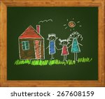 happy family. blackboard. kids... | Shutterstock . vector #267608159