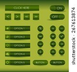 green set of vector buttons and ...