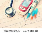 blood sugar monitor with lancet ... | Shutterstock . vector #267618110