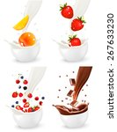 chocolate and colorful fresh... | Shutterstock .eps vector #267633230