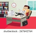 happy businessman reading a...   Shutterstock .eps vector #267642764